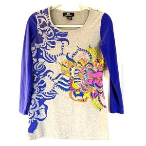 IB DIFFUSION SEQUINED & BEADED GRAPHIC TOP